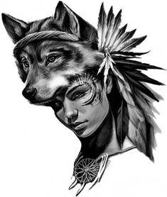 Wolf and face tattoo wolf and face tattoo τατουάζ. Wolf Face Tattoo, Wolf Girl Tattoos, Girl Face Tattoo, Bild Tattoos, Body Art Tattoos, Face Tattoos, Tattoo Studio, Bow Tattoo Thigh, Wolf Headdress
