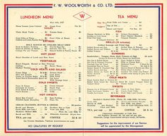 Woolworth Lunch Counter Menu | ... Day, 1937, at the restaurant lunch counters of F. W. Woolworth.
