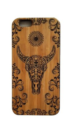 Day of the Dead Skull bamboo wood iPhone case.