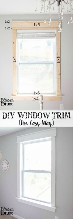 Generic Window Undergoes Classic Transformation diy home improvement Home Upgrades, Home Renovations, Home Improvement Projects, Home Projects, Home Improvements, Carpentry Projects, Home Repairs, Baseboards, Baseboard Ideas