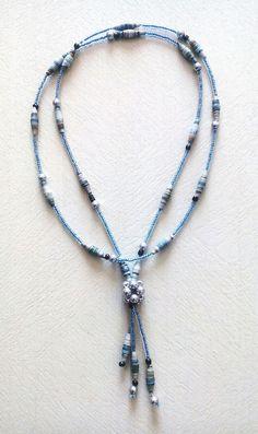 collier sautoir de perles bleu gris : Collier par floralice