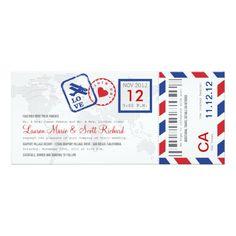 Boarding Pass Airmail Ticket Invitation Card