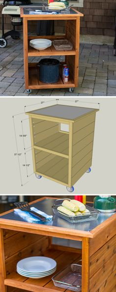 Create the perfect companion to your outdoor grill with this rolling cart. It offers space to store your supplies and ingredients, plus a metal top th. Woodworking Bed, Woodworking Supplies, Woodworking Projects, Woodworking Videos, Woodworking Workshop, Woodworking Classes, Diy Wood Projects, Home Projects, Grill Cart