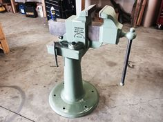 """Here is a restored Prentiss #58 on a actual vise stand they had sitting in the railroad engine shop. Thes vises are called Chipping vises and have 8-1/2"""" jaws.  Nice job Tom."""