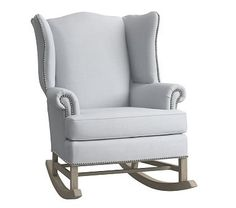 Thatcher Rocker, Pewter Nailheads, Washed Linen Cotton French Gray (Driftwood)