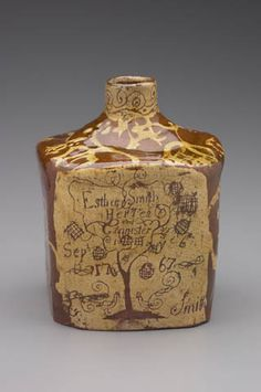 Tea Caddy Maker: Joseph Smith, American, Tea Caddy 1767 Earthenware with white slip decoration x x cm x 5 x 5 in.) Geography: Made in Wrightstown, Pennsylvania Antique Stoneware, Antique Pottery, Earthenware, Ceramic Pottery, Pottery Art, Tea Canisters, Tea Tins, Joseph Smith, Tea Box