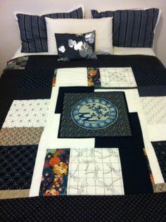 Sashiko design bed cover
