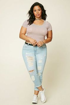 FOREVER 21 Plus Size Distressed Jeans #plus #jeans