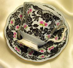 Royal Albert England ~ True Love ~ Black Lace & Pink Rose