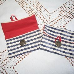 Porte monnaie / range tampon / porte cartes en toile à espadrilles marine 10.5 x 7