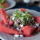 Quinoa Watermelon Salad Author: Natalie Wiser-Orozco Nutrition Information Serves: 4 Calories: 580 Fat: . Watermelon Salad Recipes, Quinoa Salad Recipes, Quinoa Dishes, Healthy Salads, Healthy Eating, Healthy Recipes, Free Recipes, Cranberry Cheese, Eating Clean
