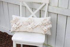 Cream Shabby Chic Fraying  Flower Pillow with Gray Pearl Accents. $27.95, via Etsy.