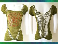Junior / Womens Tie Dyed Olive Cut Top  Tribal by LasciviousGrace, $48.00