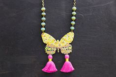 Colorful Bohemian Butterfly Tassel Necklace with Baby Blue