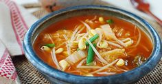 Kimchi Kongnamul Guk (Soybean Sprout Soup with Kimchi) - Korean Bapsang - used salted shrimp Bean Sprout Soup, Bean Sprout Recipes, Bean Sprouts, Korean Dishes, Korean Food, Asian Recipes, Healthy Recipes, Ethnic Recipes, Asian Foods