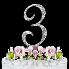 Rhinestone Cake Topper Number 3 -- Startling big discounts available here : Baking decorations