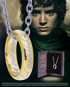 the one ring sterling silver gold plated replica w/chain