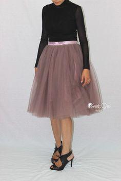 """Colette Purple Gray Tulle Skirt - Length 26"""" - C'est Ça New York"""