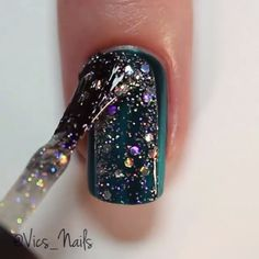 Green glitter jelly sandwich nails by @vics_nails  Song: Glitterball by Sigma feat Ella Henderson