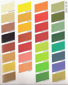 Autumn Color Chart, some of my favorites are Pumpkin, Orange-Red, Olive Green, & Deep Periwinkle Blue