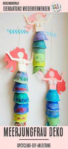 Meerjungfrauen und Wassernixen sind gerade sehr im Trend: auf Shirts, als Barbies und im Kinderzimmer. Wir lieben unsere gebastelte Deko für das Mädchenzimmer! So kannst du die Meerjungfrau aus Eierkartons schnell, einfach und günstig nachmachen! Komplette Anleitung - Schritt für Schritt!  #upcycling