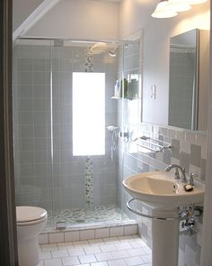 Bathroom with White and Gray Tiles
