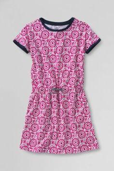 Girls' Short Sleeve Pattern Cinched Waist Knit Dress from Lands' End