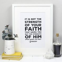 This Christian art print features one of our favourite Charles Spurgeon quotes, encouraging us to look to Jesus and rest in Him and His strength instead of tryi Powerful Christian Quotes, Christian Quotes About Life, Quotes About God, Popular Bible Verses, Favorite Bible Verses, Favorite Quotes, Charles Spurgeon Quotes, Christian Wall Decor, Bible Verse Wall Art