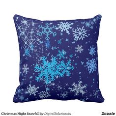 Christmas Night Snowfall Throw Pillow