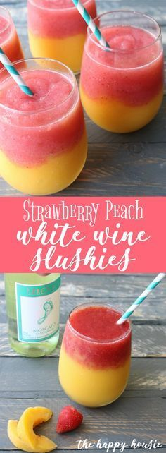 will love these strawberry peach white wine slushies - super easy to make and the perfect drink for your summer entertaining!You will love these strawberry peach white wine slushies - super easy to make and the perfect drink for your summer entertaining! Blended Drinks, Alcohol Drink Recipes, Slushy Alcohol Drinks, Vodka Cocktails, Fun Summer Drinks Alcohol, Summer Mixed Drinks, Cocktail Drinks, Summer Drink Recipes, Bourbon Drinks