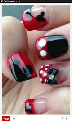 Micky mouse and Minny mouse nails
