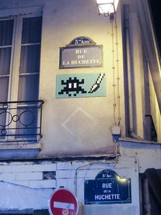 Space Invader. Rue De La Huchette.  5th Arrondisement.  Paris, February 2012.