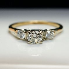 Vintage .69cttw Art Deco Diamond Engagement Ring with 14k Yellow