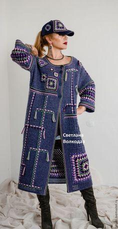 Верхняя одежда ручной работы. Пальто вязаное авторское