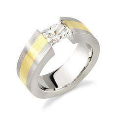 18K Gold Men's Two Tone, Tension Set, Emerald Cut, H Color, SI1 Clarity Diamond Designer Engagement Ring (0.75 Carat) http://www.beckers.com/Detail.aspx?ProdId=864