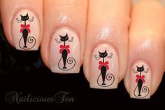 Fab Cat with Bow Vintage Nail Wrap Animal Art Water Transfer Decal Gorgeous via Etsy Animal Nail Designs, Animal Nail Art, Nail Art Designs, Bow Nail Art, Vintage Nails, Magic Nails, Cat Nails, Nail Decals, Fabulous Nails