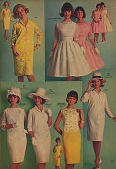 Page 17 of the Summer 1964 Lana Lobell catalog. 1960s Fashion, Timeless Fashion, Vintage Fashion, Vintage Dresses, Vintage Outfits, 60s Dresses, Vintage Clothing, Purple Coat, Pantyhose Outfits