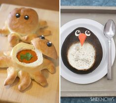 Octopus and penguin-shaped bread bowls:    Yields 2, 6 or 12 octopus bread bowls, depending on size of rolls package    Ingredients:        1 package frozen Traditional White Rhodes Dinner Rolls (available in packages of 12, 36 or 72 rolls)      Melted butter      Black olives      Cream cheese