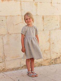Kleider - Leinen Kleid mit Gürtel für Mädchen  - ein Designerstück von Katrinhause bei DaWanda