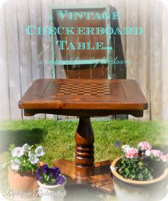A Vintage Checkerboard Table Types Of Flooring, Flooring Options, Stone Flooring, Furniture Makeover, Diy Furniture, Checkerboard Table, Types Of Lawn, Home Projects, Things To Do