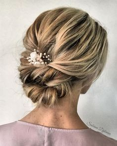 42 Gorgeous Wedding Hairstyles---low bun updo hairstyle with white flowers and e. 42 Gorgeous Wedding Hairstyles---low bun updo hairstyle with white flowers and elegant headpiece, rustic weddings, woodl. Wedding Hair And Makeup, Hair Makeup, Hair Wedding, Bride Makeup, Wedding Rings, Casual Wedding Hair, Wedding Dresses, Hairstyle Bridesmaid, Hair For Bridesmaids