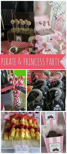 A pirate and princess party with popcorn balls, fairy Godmother fruit wands and treasure map Oreos!  See more party planning ideas at CatchMyParty.com!