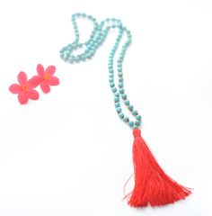 Boho Chic Tassel Necklace ~ Mala Necklace ~ Aqua Stone Beads ~ Red Tassel ~ Bohemian Necklace ~ Long Necklace ~ Summer ~ Gift ~ Art de Mon on Etsy, $20.00