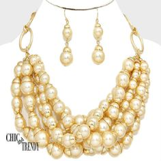 SUPER CHUNKY BEIGE GOLD SIMULATED PEARL BEADED NECKLACE JEWELRY SET CHIC TRENDY #Unbranded