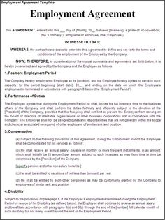 Sample Employment Contract Form Template | Letter | Pinterest
