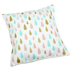Add a fun touch to a bedroom with this unique multi raindrop scatter cushion cover. Screen printed on cotton canvas.