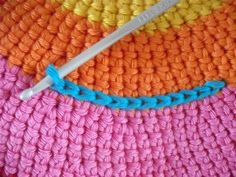 Keep this idea in mind - using a single crochet surface embellishment on a crocheted circle.  Makes it pop! ❥Teresa Restegui http://www.pinterest.com/teretegui/❥