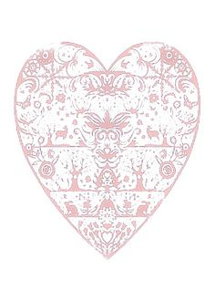 Pink filigree heart