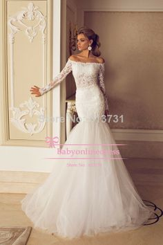 2014 Sexy Romantic Mermaid Bridal Gown See Through Lace and Tulle Off The Shoulder Long Sleeves Wedding Dresses