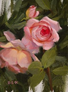 "Laurie Kersey ~ ""Pink Rose Study"" ~ Oil on Panel Watercolor Flowers, Watercolor Paintings, Impressionist Paintings, Rose Art, Arte Floral, Matisse, Art Oil, Painting Inspiration, Flower Art"